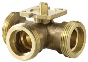 3-way change-over ball valve (T) with male thread, PN 40
