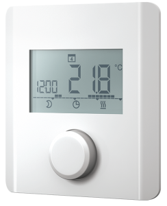 Electronic room thermostat for heating and heating/cooling with display